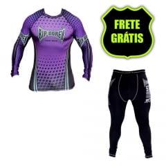 Kit Promocional Camisa Faixa Roxa e Calça Compressão