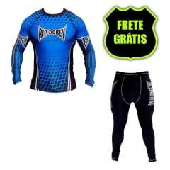 Kit Promocional Camisa Faixa Azul e Calça Compressão